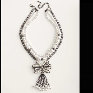 CONVERTIBLE FAUX-PEARL BOW NECKLACE